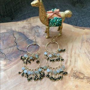 Anthropologie Beaded Stone Gold Chandelier Earring